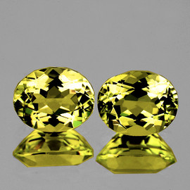 7x6 mm 2pcs {1.91 cts} Oval Intense AAA Yellow Beryl 'Heliodor' Natural {Flawless-VVS1}