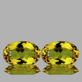 9x6 mm 2 pcs {2.75 cts} Oval Intense AAA Yellow Beryl 'Heliodor' Natural {Flawless-VVS1}