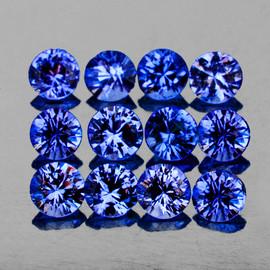2.70 mm 12 pcs Round Machine Cut AAA Ceylon Blue Sapphire Natural {Flawless-VVS}--AAA Grade