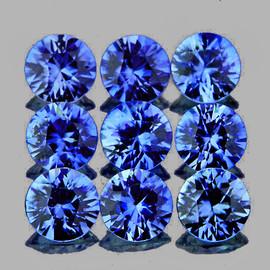 2.80 mm 9 pc Round Machine Cut AAA Ceylon Blue Sapphire Natural {Flawless-VVS}--AAA Grade