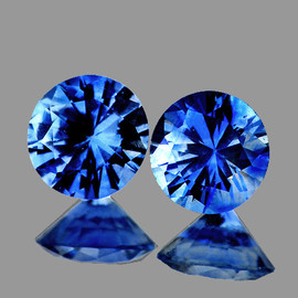 3.70 mm 2 pcs Round Machine Cut AAA Ceylon Blue Sapphire Natural {Flawless-VVS}--AAA Grade