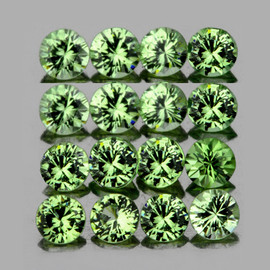 2.40 mm 16 pcs Round Diamond Cut  AAA Green Sapphire Natural {Flawless-VVS}