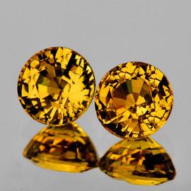 4.50 mm 2 pcs {1.20 cts} Round AAA Golden Yellow Mali Garnet Natural {Flawless-VVS}