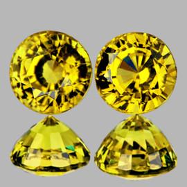 4.80 mm 2 pcs {1.20 cts} Round AAA Fire Intense Yellow Mali Garnet Natural {Flawless-VVS}