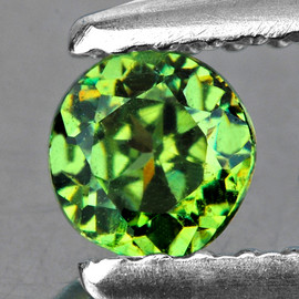 3.30 mm Round AAA Fire Green Demantoid Natural (VVS}--AAA Grade