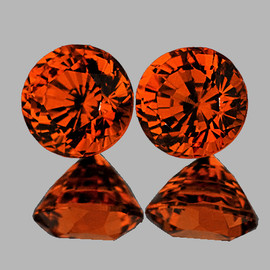 5.30 mm 2 pcs {1.62 cts} Round AAA Fire AAA Mandarin Orange Spessartite Garnet Natural {Flawless-VVS}
