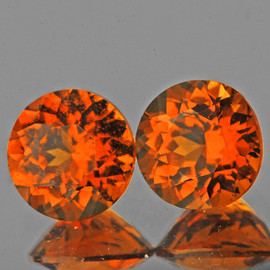 5.50 mm 2pcs Round {1.72 cts} AAA Fire Mandarin Orange Spessartite Garnet Natural