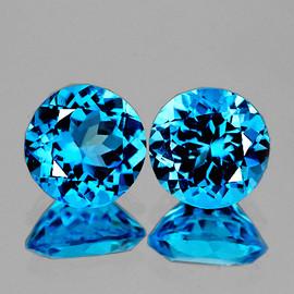 6.00 mm 2 pcs Round Best Sparkling AAA Swiss Blue Topaz Natural {Flawless-VVS1}