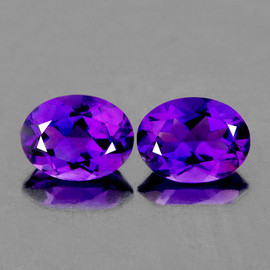 8x6mm 2 pcs Oval AAA Fire Intense AAA Purple Amethyst Natural {Flawless-VVS}--AAA Grade