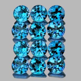 4.00 mm 12 pcs Round Best Sparkling Swiss Blue Topaz Natural {Flawless-VVS1}