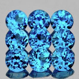 5.00 mm 9 pcs Round Best Sparkling Swiss Blue Topaz Natural {Flawless-VVS1}
