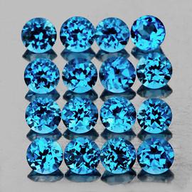 3.50 mm 16 pcs Round Best Sparkling Swiss Blue Topaz Natural {Flawless-VVS1}