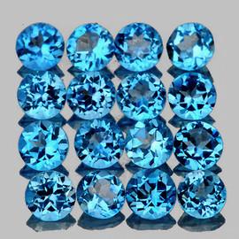 3.00 mm 25 pcs Round Best Sparkling Swiss Blue Topaz Natural {Flawless-VVS1}