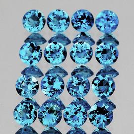 2.50 mm 40 pcs Round Best Sparkling Swiss Blue Topaz Natural {Flawless-VVS1}