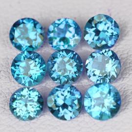 4.50 mm 9 pcs Round Best Sparkling Swiss Blue Topaz Natural {Flawless-VVS1}