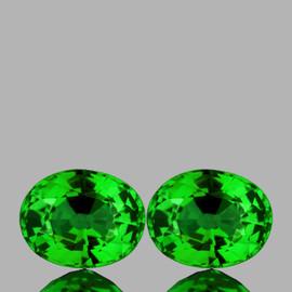 5x4 mm 2 pcs Oval AAA Fire AAA Vivid Chrome Green Tsavorite Garnet Natural {Flawless-VVS}