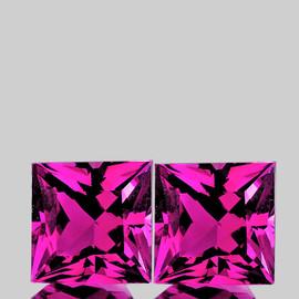 8.00 mm 2 pcs {5.60 cts} Square Princess Cut Best AAA Hot Pink Topaz Natural {Flawless-VVS1}