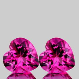 9.00 mm 2 pcs Heart Best AAA Hot Pink Topaz Natural {Flawless-VVS1}