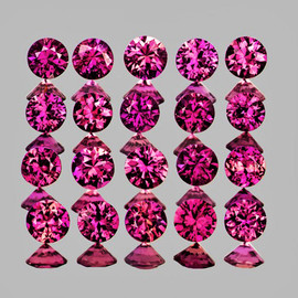 1.80 mm 35 pcs Round Brilliant Cut Intense AAA Violet Red Mozambique Ruby Natural (Unheated) {Flawless-VVS}--AAA Grade