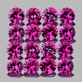 2.20 mm 16 pcs Round Brilliant Cut Intense AAA Violet Red Mozambique Ruby Natural (Unheated) {Flawless-VVS}--AAA Grade