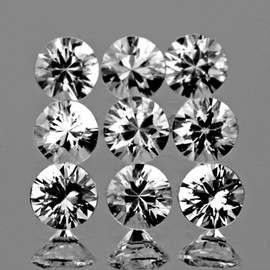 3.00 mm 9 pcs Round Brilliant Cut AAA Fire Natural White Sapphire {Flawless-VVS}