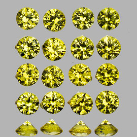 1.50 mm 50 pcs Round Brilliant Machine Cut AAA Fire Canary Yellow Sapphire Natural {Flawless-VVS1}