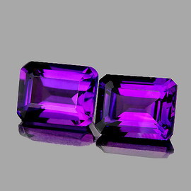 8x6 mm 2pcs Rectangle Best AAA Fire Intense Purple Amethyst Natural (Flawless-VVS1}