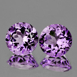 7.00 mm 2 pcs Round AAA Fire Purple Lavender Amethyst Natural {Flawless-VVS}