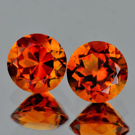 6.00 mm 2 pcs Round AAA Fire Madeira Orange Citrine Natural (Flawless-VVS1}