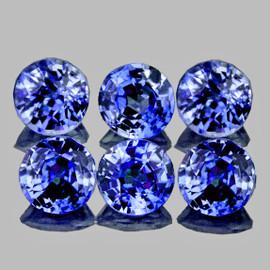 2.80 mm 6 pcs Round AAA Fire Ceylon Blue Sapphire Natural {Flawless-VVS}