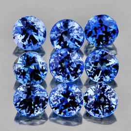 2.70 mm 9 pcs Round AAA Fire Ceylon Blue Sapphire Natural {Flawless-VVS}