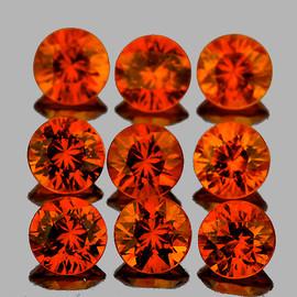 3.00 mm 9 pcs Round Best AAA Fire Intense AAA Orange Sapphire Natural {Flawless-VVS1}