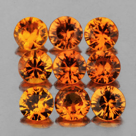 3.00 mm 9 pcs Round Brilliant Cut AAA Fire Natural Golden Orange Sapphire {Flawless-VVS}