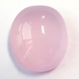 25.57 cts Oval Cabochon 20x18 mm Pastel Pink Rose Quartz Natural {Flawless-VVS}