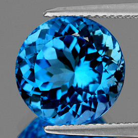26.50 cts Round 17.50 mm Best AAA Fire Natural AAA Swiss Blue Topaz {Flawless-VVS1}