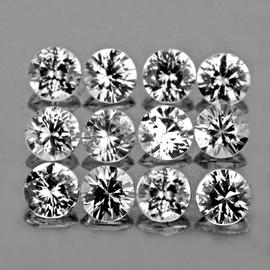 2.50 mm 12 pcs Round Brilliant Machine Cut Grayish White Spinel Mogok Natural {Flawless-VVS1}