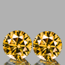 5.00 mm 2 pcs Round Brilliant Machine Cut Extreme Brilliancy Natural  AAA Imperial Golden Zircon {Flawless-VVS1}--AAA Grade