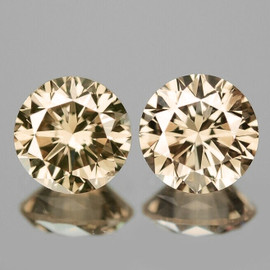5.00 mm 2 pcs Round Brilliant Machine Cut Extreme Brilliancy Natural Champagne Zircon {Flawless-VVS1}--AAA Grade