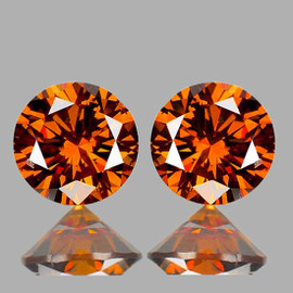 5.50 mm 2 pcs Round Brilliant Machine Cut Extreme Brilliancy Natural  AAA Imperial Orange Zircon {Flawless-VVS1}--AAA Grade