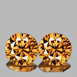 5.50 mm 2 pcs Round Brilliant Machine Cut Extreme Brilliancy Natural  AAA Imperial Golden Zircon {Flawless-VVS1}--AAA Grade