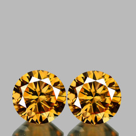 5.30 mm 2 pcs Round Brilliant Machine Cut Extreme Brilliancy Natural  AAA Imperial Golden Zircon {Flawless-VVS1}--AAA Grade
