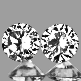 2.30 mm 2 pcs Round Color D-F White Diamond Natural {VVS} AAA Grade