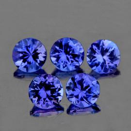 3.50 mm 5 pcs Round AAA Fire Intense Purple Blue Tanzanite Natural {Flawless-VVS1}