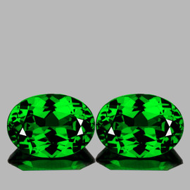 6x4 mm 2 pcs Oval AAA Fire AAA Emerald Green Tsavorite Garnet Natural {Flawless-VVS}-AAA Grade