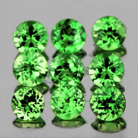 3.00 mm 9 pcs Round Diamond Cut Natural Tsavorite Green Garnet