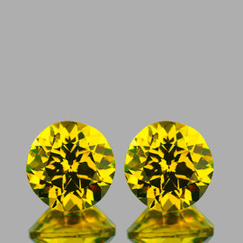 4.50 mm 2 pcs {1.13 cts} Round Brilliant Cut Best AAA Fire Intense Yellow Mali Garnet Natural {Flawless-VVS}