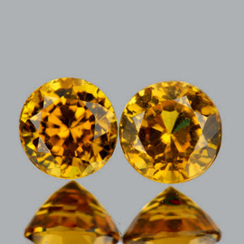 5.00 mm 2 pcs {1.43 cts} Round Fire Golden Yellow Mali Garnet Natural {Slightly Inclusion}