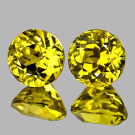 4.30 mm 2 pcs {1.00 cts} Round Brilliant Cut Best AAA Fire AAA Vivid Yellow Mali Garnet Natural {Flawless-VVS}