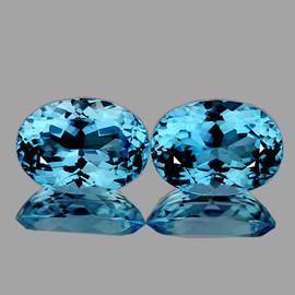 14x10 mm 2 pcs Oval AAA Fire AAA Sky Blue Topaz Natural {Flawless-VVS1}--AAA Grade