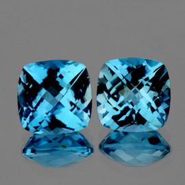 10.00 mm 2pcs Cushion Checker AAA Fire AAA Sky Blue Topaz Natural {Flawless-VVS1}--AAA Grade